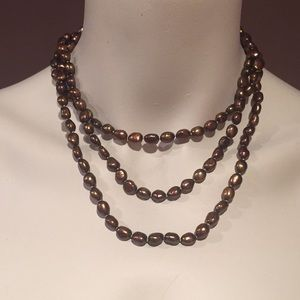 Long Colored Cultured Pearl Necklace